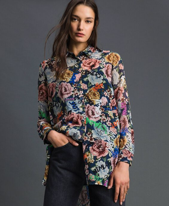 Long shirt with floral and graffiti print