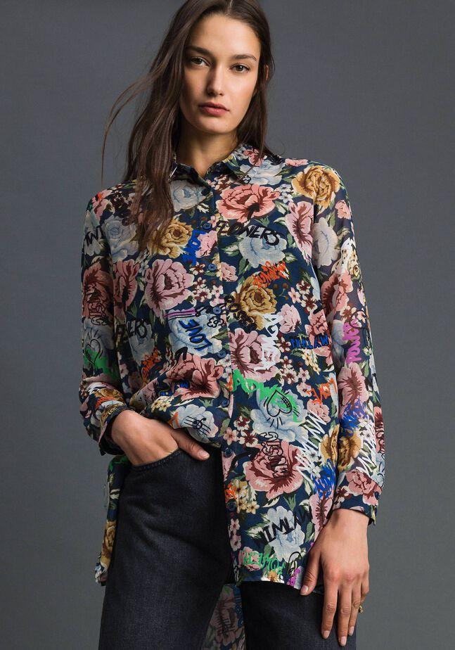 Long shirt with floral and graffiti print