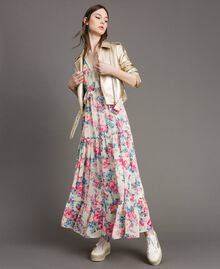 Georgette dress with flounces and frills Cloth White Flowers Print Woman 191MP2330-0T