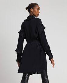 Kleid aus Crêpe de Chine aus Seidenmischung Schwarz Frau 192TP2101-04