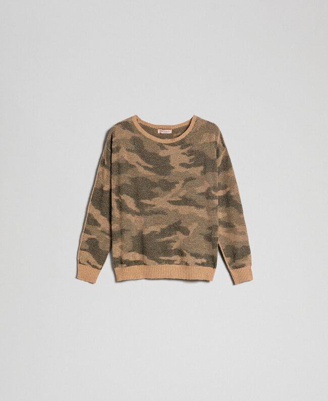 Pull jacquard motif camouflage Imprimé Camouflage Femme 192TT3191-0S