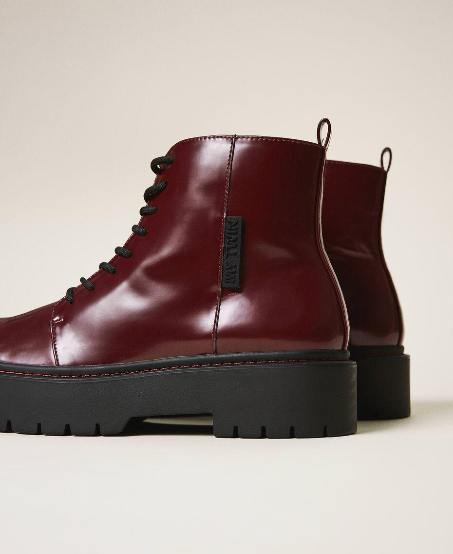 """Faux leather combat boots """"Wine tasting"""" Purple Woman 202MCT140-02"""
