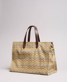 """Oversized straw-effect shopping bag Multicolour """"Milkyway"""" Beige / """"Petra Sandstone"""" Brown / Ivory Woman 191LM4ZCC-04"""