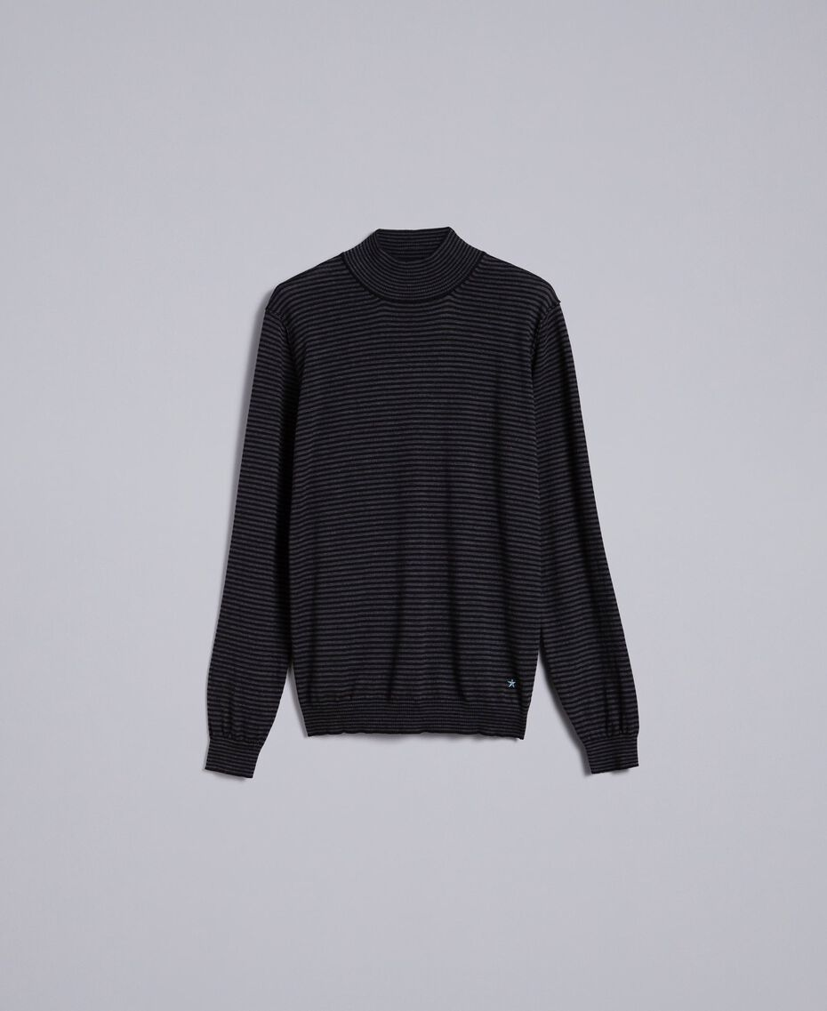 Pull col montant in laine rayée Bicolore Gris Anthracite Chiné / Noir Homme UA83AC-0S