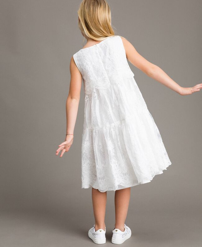 Embroidered organza and lace dress White Child 191GJ2QB1-03