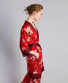 Long floral print satin kimono Red Garden Print Woman PA829N-02
