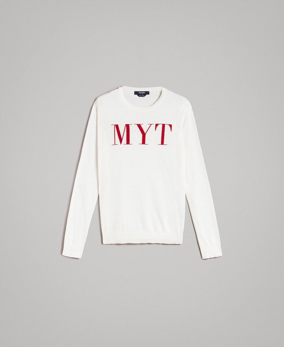 """Pull en crêpe de coton avec logo Bicolore Blanc Opaque / Rouge """"Framboise Foncé"""" Homme 191UT3040-0S"""