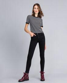Jeans skinny in denim nero con strass Denim Nero Donna JA82R2-02
