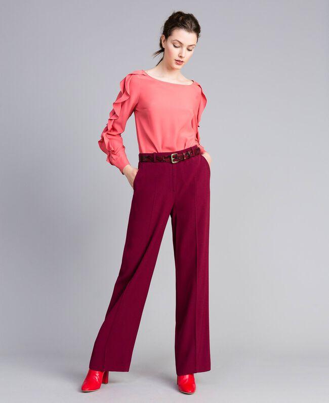 Silk blend blouse with frills Royal Pink Pink Woman PA828B-0T