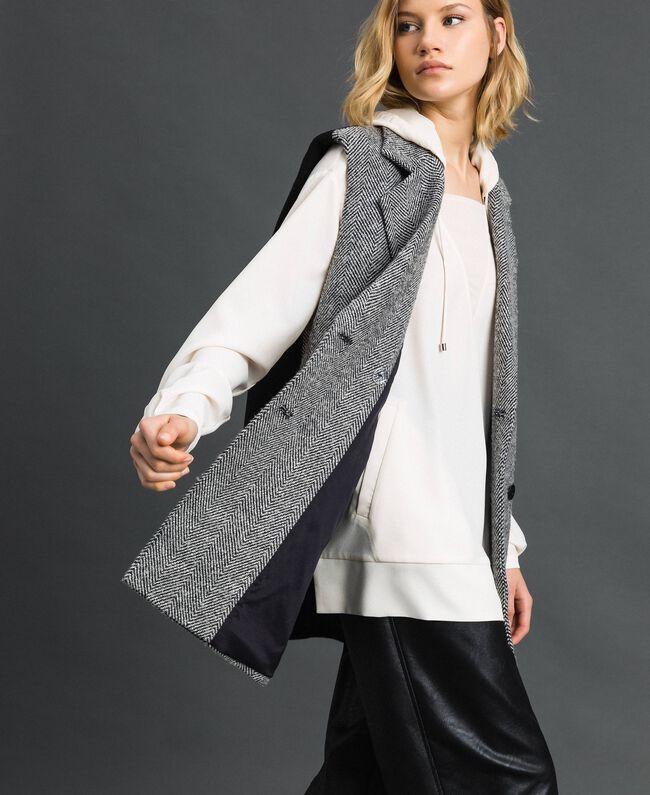 Double breasted chevron wool cloth waistcoat Black Jacquard / Creamy White Woman 192ST2101-04