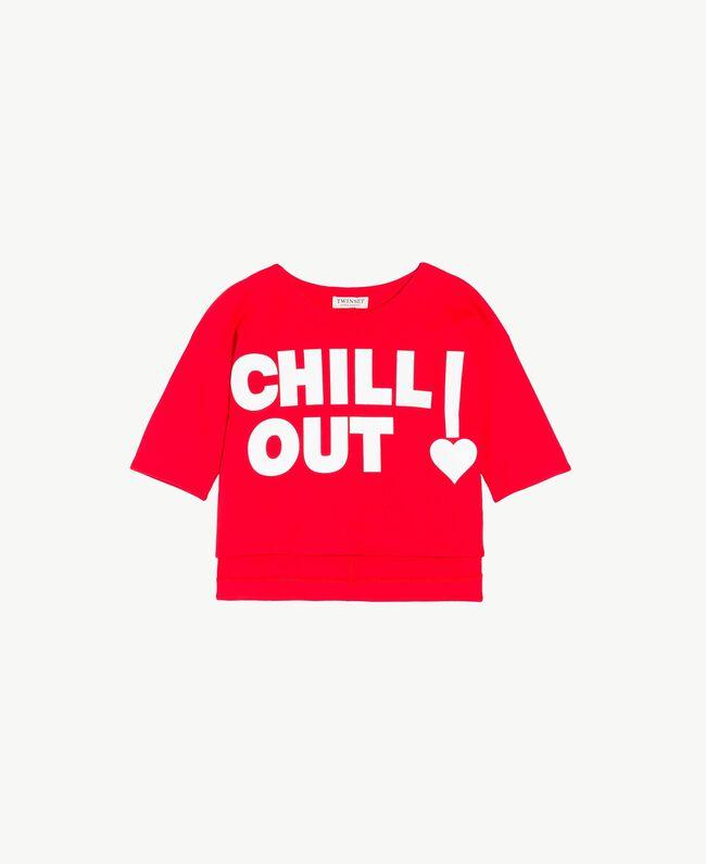 "Printed sweatshirt Two-tone Pomegranate Red / ""Papyrus"" White Child GS82KA-01"