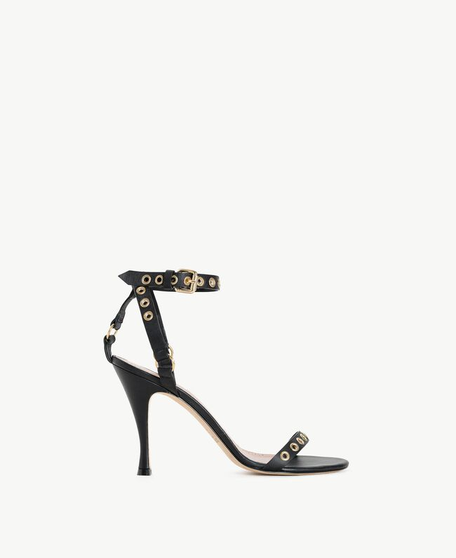 TWINSET Laminated sandals Black Woman CS8TAE-01