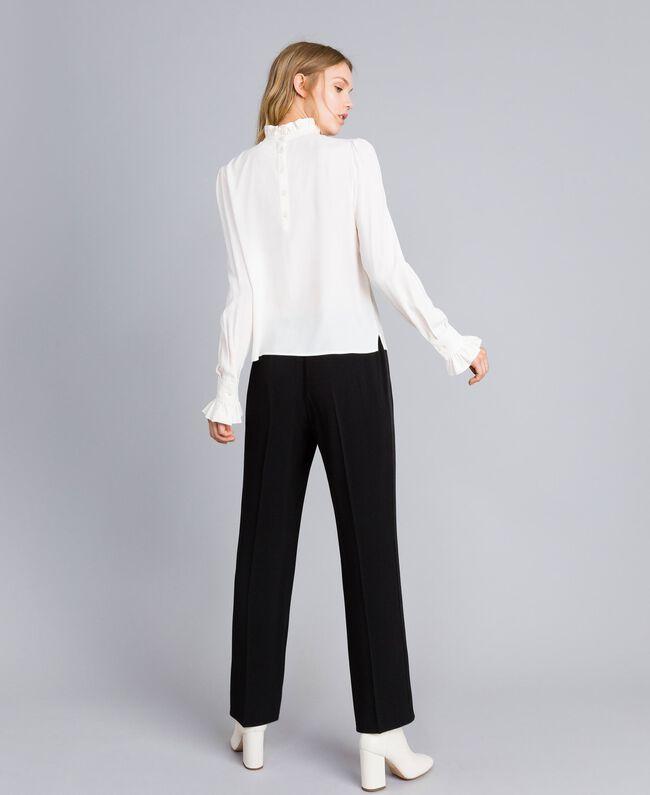 Pantalon palazzo en envers satin Noir Femme TA824A-03