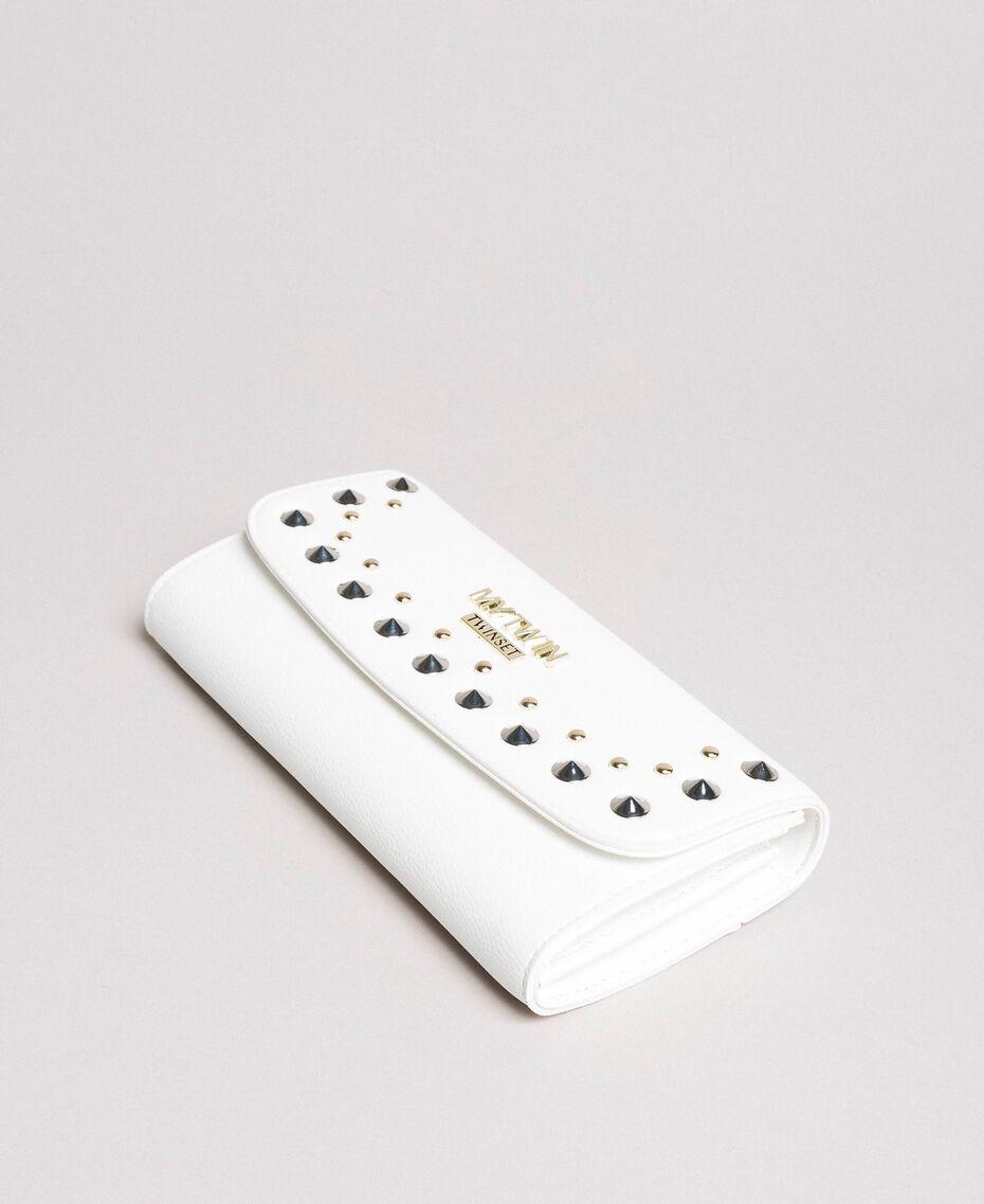 Portefeuille en similicuir avec clous Crème White Femme 191MA7144-01