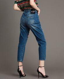 Zerrissene Girlfriend Jeans mit Pailletten Denimblau Frau 191MT2184-03