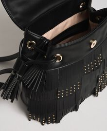 Faux leather backpack with fringes and studs Black Woman 192MA7022-05