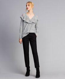 Pantalon cigarette en twill Noir Femme SA82KC-02