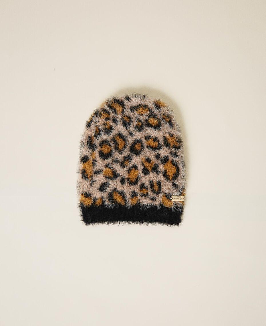 Mütze in Pelzoptik mit Animaldessin Animalier-Print Frau 202LL4FSS-01