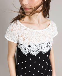 T-shirt a pois con pizzo Bicolore White / Nero Donna 191MP2064-04