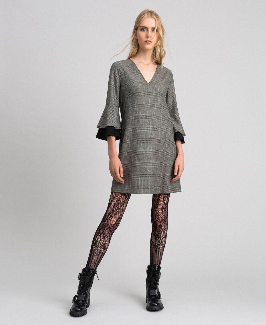 Glen plaid and georgette dress Lurex Dark Grey Wales Design Woman 192TT2447-01