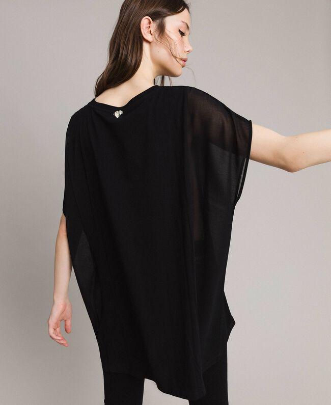 Maxi T-Shirt mit Print und Strass Schwarz Frau 191LB23KK-03