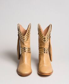 Leather ankle boots with studs Nougat Beige Woman 191TCP044-06