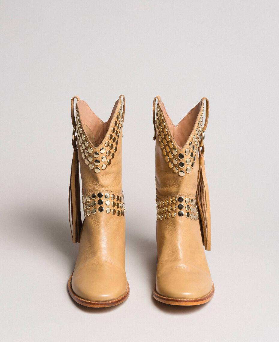 Leder-Stiefeletten mit Nieten Nougat Beige Frau 191TCP044-06