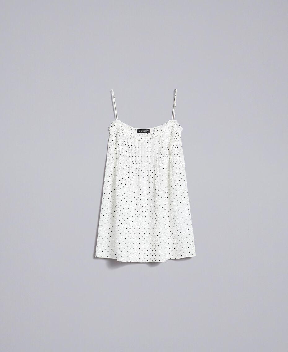 Top en soie avec petits cœurs Imprimé Cœurs Blanc Neige/ Noir Femme PA82N5-0S
