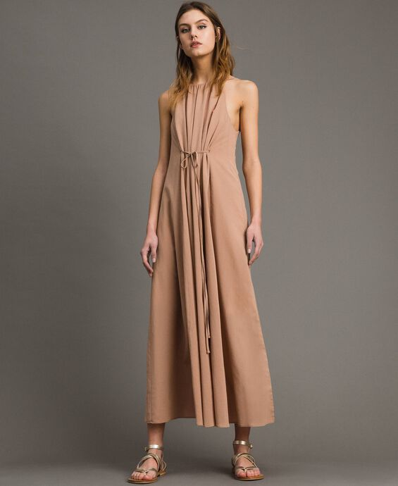 Long dress with thin shoulder straps