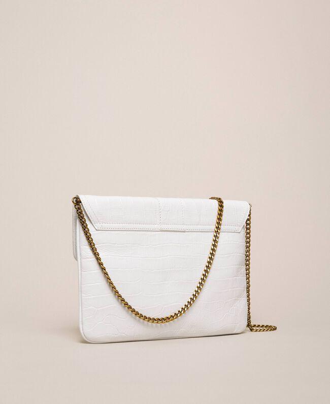 """Croc print leather Rebel pochette """"Snow"""" White Crocodile Print Woman 201TA7112-04"""