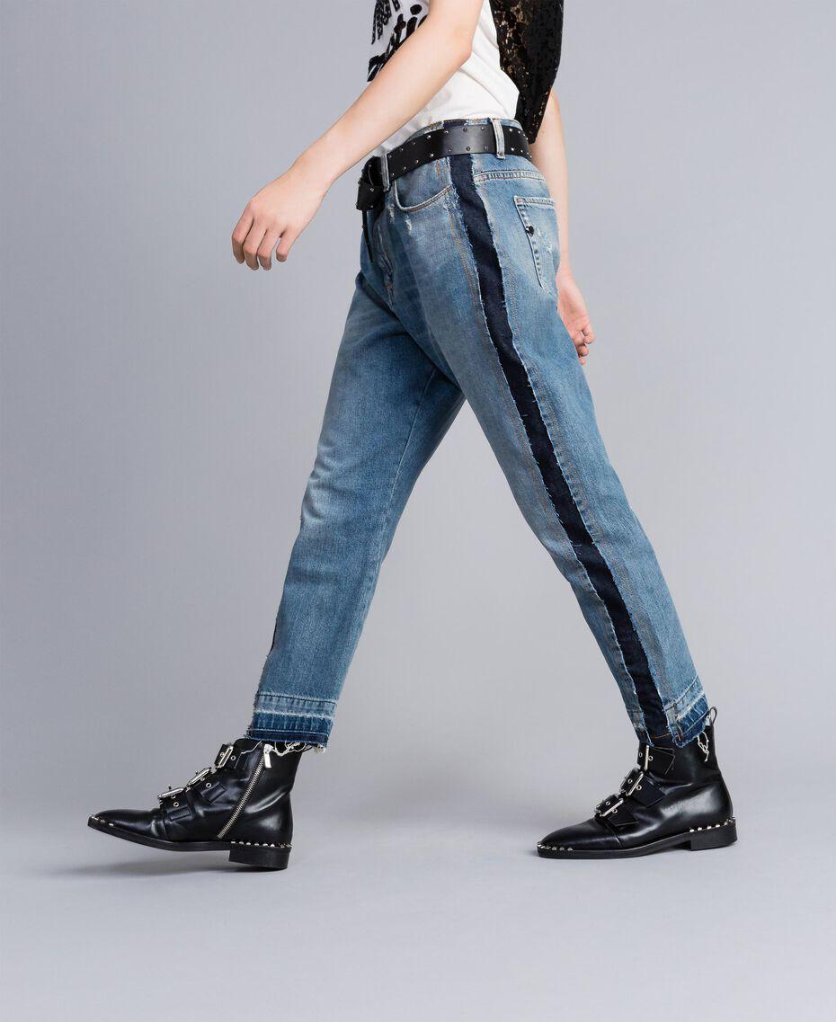 Jeans aus Denim mit Seitenstreifen Denimblau Frau JA82ZC-02