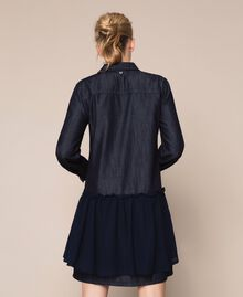 Denim shirt dress with rhinestones Denim Blue Woman 201MP2400-04