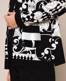 Bedruckter Cardigan mit Pailletten Print Liberty Weiß / Schwarz Frau 201ST3162-04