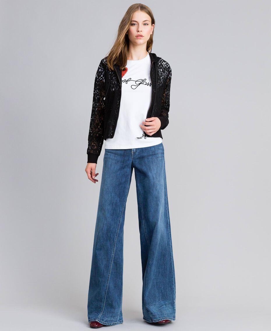 Wide-Leg-Jeans aus Denim Denimblau Frau JA82Q4-0T