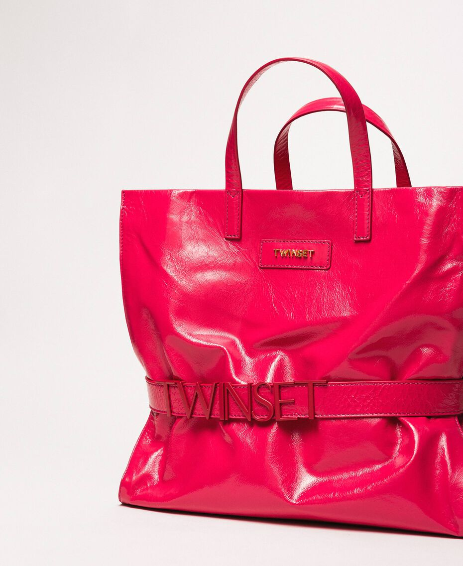 """Large leather shopper with logo """"Jazz"""" Pink Woman 201TO8090-01"""