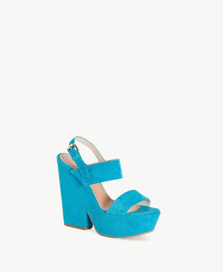 TWINSET Sandales daim Bleu «Gentiane» Femme CS8TCC-02