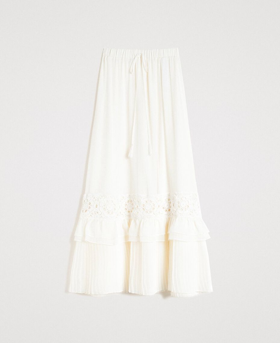 Long skirt with crochet insert Ivory Woman 191LM2NEE-0S