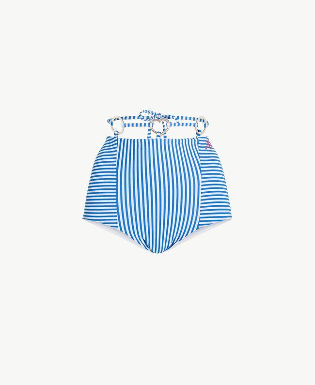 Taillen-Bikinihose mit Streifen Lurexstreifen Lagunenblau Frau MS8CZZ-01