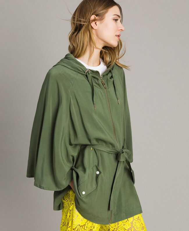 "Hooded cape ""Cactus"" Green Woman 191MT2311-01"