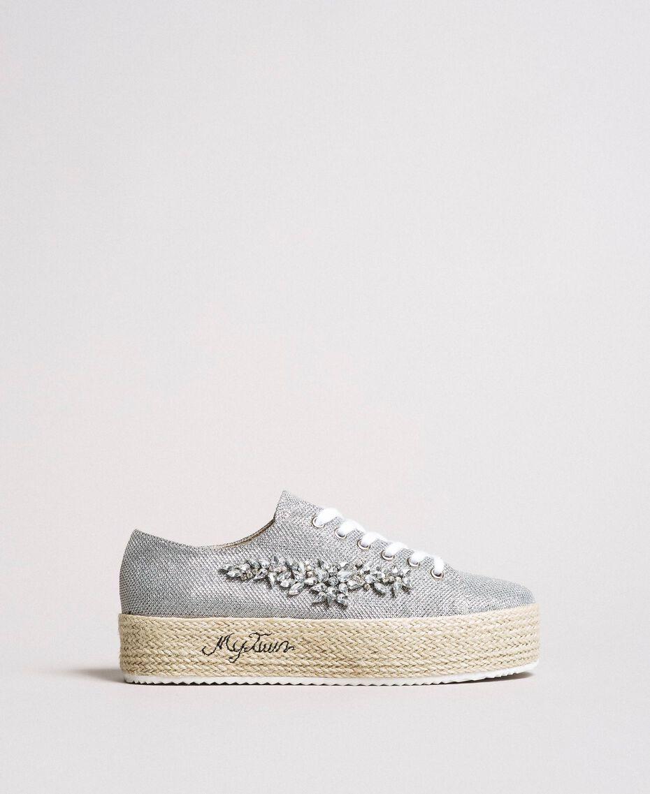 Mesh-Sneakers mit Steinen und Logo Silber / Nickel Frau 191MCP03G-02