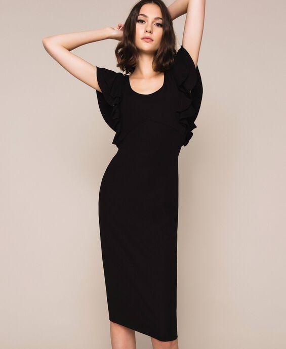 Sheath dress with frills