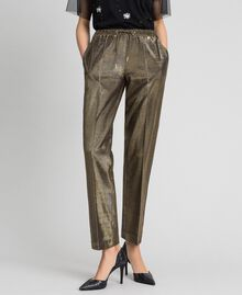 Metal effect trousers Black Gold Woman 192MT2191-02