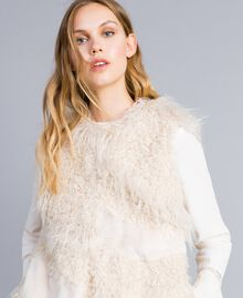 Gilet lungo in similpelliccia patch Bianco Neve Donna TA82A2-04