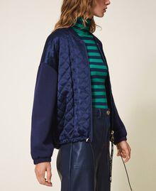 Satin and scuba bomber jacket Blackout Blue Woman 202LI2JQQ-03