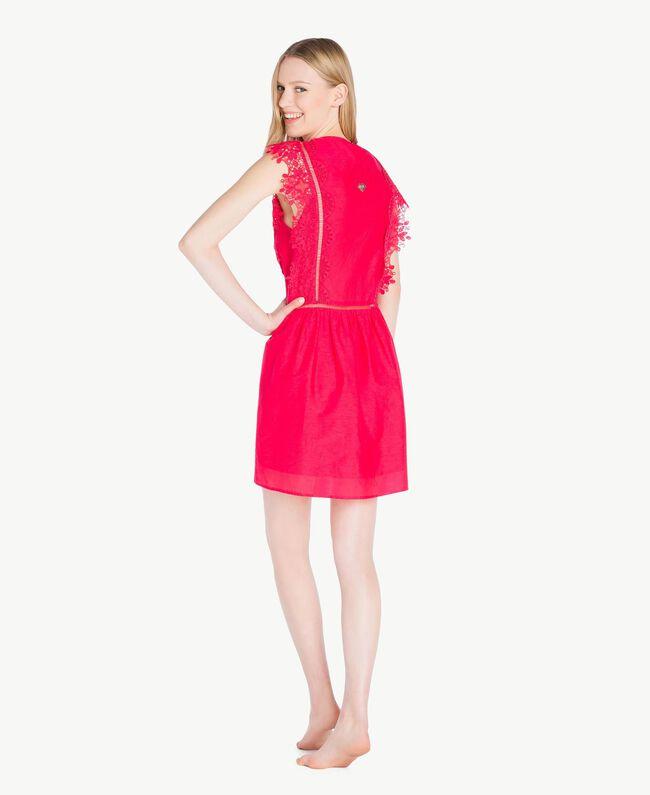 "Kleid mit Spitze ""Pink Twist""-Rot Frau BS8FBB-04"