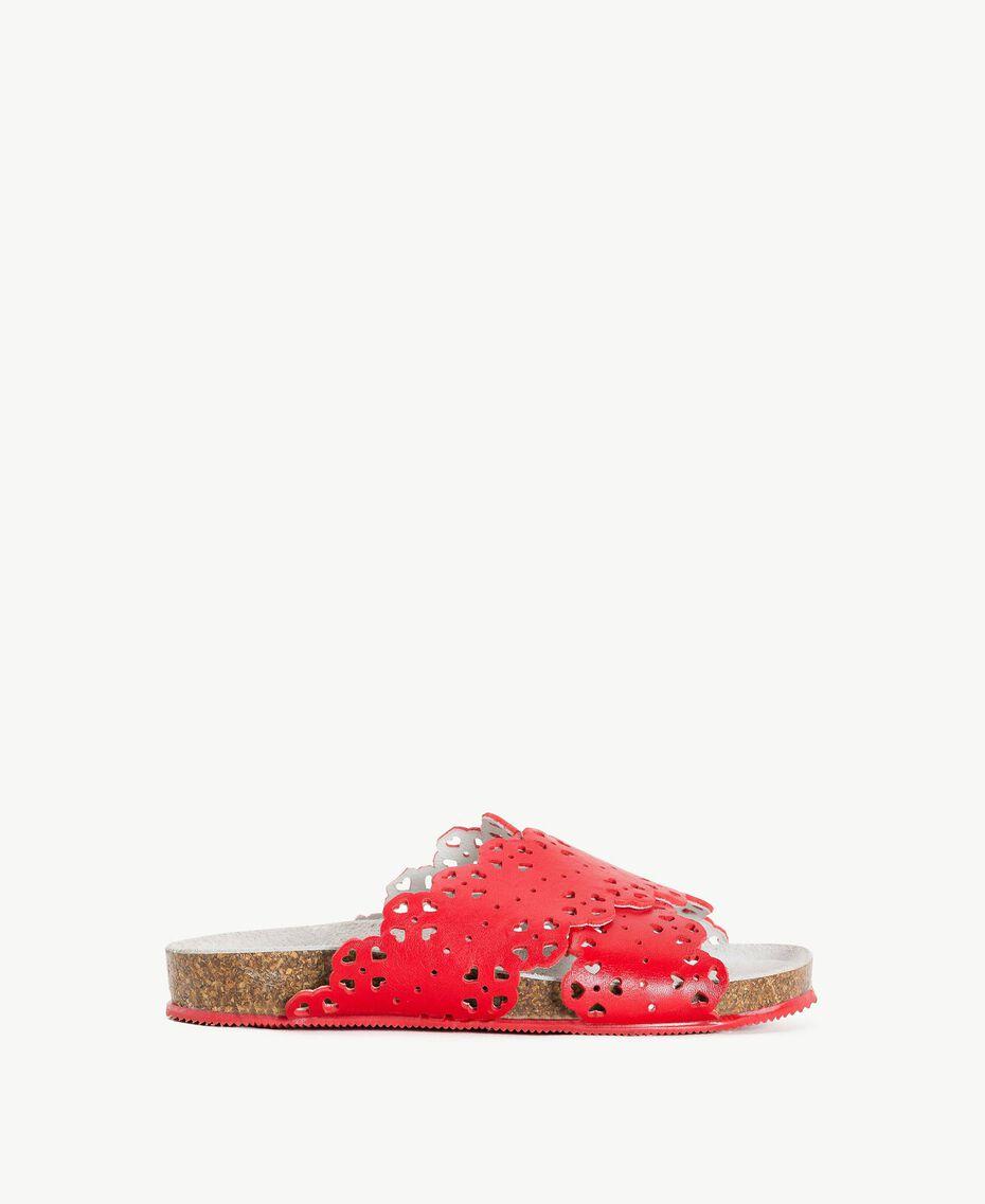 Scalloped slipper Pomegranate Red Child HS88CS-01