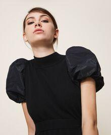 Kleid aus Wollmischung und Taft Schwarz Frau 202TP3251-05