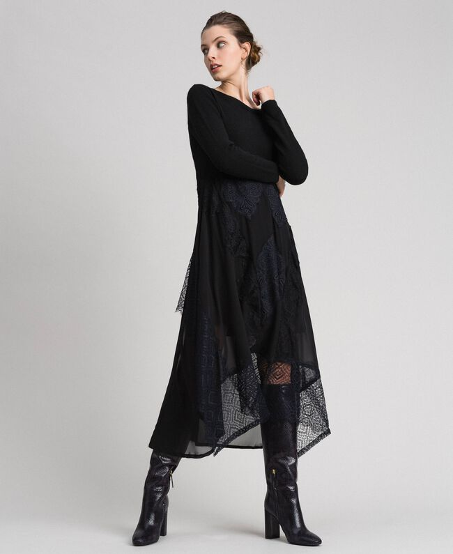 Knit and georgette long dress with lace Black Woman 192TT3080-01