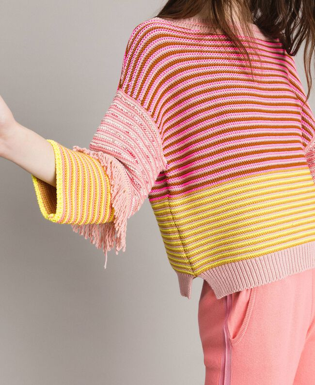 Patchwork effect top with fringes Patchwork Pink  / Yellow Striping Woman 191TP3311-04