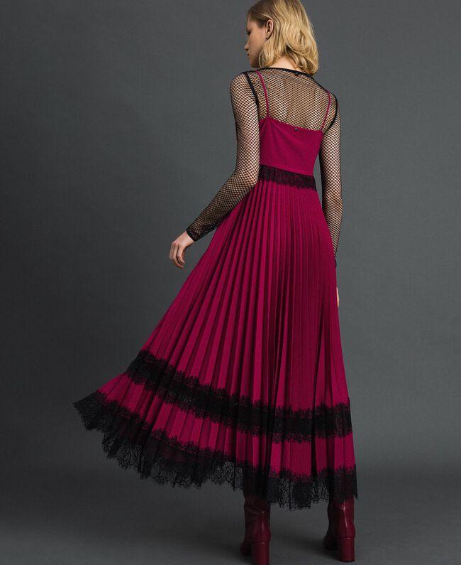 "Lace slip dress Bicolour Black / ""Snow"" White Woman 192TP2282-03"